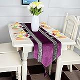 Top Finel Stilvolle Atmosphäre Minimalistischen Modernen Geometrie Tischläufer/Tischdecke Couchtisch Tuch Für Hochzeit Bankett,Zwei Quasten,33x210cm,Lila
