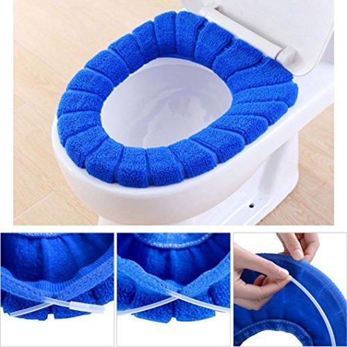 Xshuai Toilet Lid Cover Comfortable Velvet Coral Toilet Seat Cover Standard Pumpkin Pattern Cushion (Blue)
