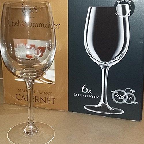 Lot de 6 verres à pied 35 cl pour vin rouge blanc - Chef et Sommelier ligne Cabernet