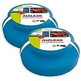 ALCLEAR 5713050M 2-er Set Profi Handpolierschwamm 130 x 50 mm mit umlaufender Griffleiste für Wachse, Polituren, Lackreiniger, blau