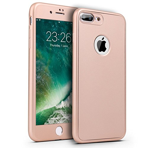 Custodia iPhone 6, iPhone 6S Cover Case, JAWSEU [360 gradi] 3 in 1 Protezione Completa fronte e retro Bella Matte opaco Flessibile Silicone Custodia per Apple iPhone 6/iPhone 6S Cover Case Caso Gomma Matte Oro