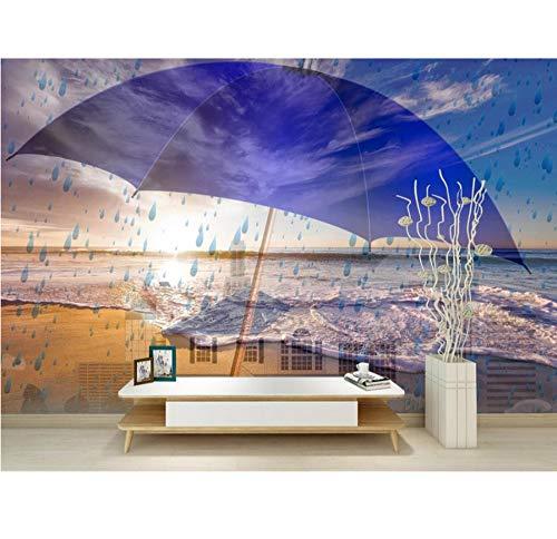 Ziegel Tapete 3D Regenschirm Kreative Wandbild Tapete Für Das Hotel Büro Wohnzimmer Schlafzimmer Papel De Parede 3D, 430X300 Cm (169,29X118,11 In) (Pflaume Regenschirm)