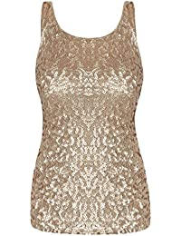 PrettyGuide Women Shimmer Glam Sequin Embellished Sparkle Tank Top Vest Tops 4d463eaa0cbf
