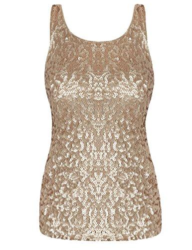 PrettyGuide Damen Shimmer Glam Pailletten verziert Sparkle Trägershirt-Weste Tops L/EU40-42 Mattes Gold