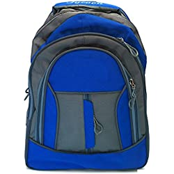 Vintage Stylish Synthetic Girls Boys Unisex Casual College School Backpack-Blue And Grey- 190251