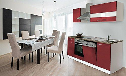 respekta Küche Küchenzeile Einbauküche 220 cm Weiß Front Rot CERAN KB220WRC