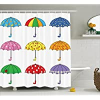 Shower Curtain by Ambesonne, Fabric Bathroom Decor Set with Hooks