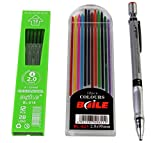 #8: Baile Set of Mechanical Lead ,Pencil 12 Black Leads and 12 Color Leads (10 inches x 8 inches )