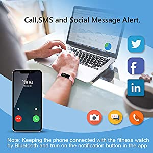 HolyHigh YG3 Fitness Tracker Band withno Heart Rate Monitor Smart Fitness Watch with Step Counter Calories Burned Sleep Monitor Facebook Whatsapp Call Alarm Notification (Blue)
