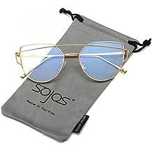 70eda3c82e6ff SOJOS Gafas De Sol De Moda Marco Metal Para Mujer-Lentes Planos De Espejo-