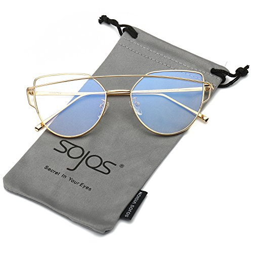 SOJOS SOJOS Katzenauge Metall Rand Rahmen Damen Frau Mode Sonnenbrille Verspiegelt Linse Women Sunglasses SJ1001 mit Gold Rahmen/Klar Linse