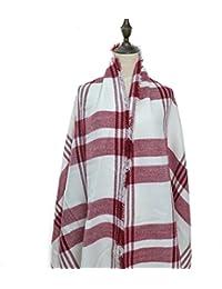 Oversized Damen Herbst/Winter Schal Übergroßer Schal Winterschal in der Farbe weiss/rot XXL Damen Schal von der Marke MyBeautyworld24