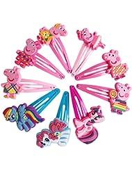 Peppa Pig Haar Clips Schleifen Haarspange Mädchen Kinder mit Kopfbedeckungen (6Paar)
