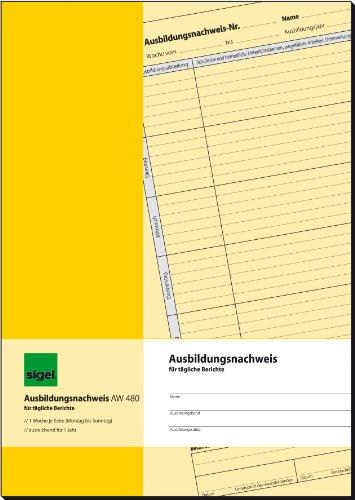 SIGEL AW480 Ausbildungsnachweisheft / Berichtsheft für tägliche Eintragungen, A4, 28 Blatt