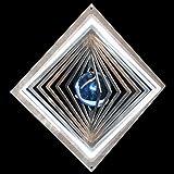 Edelstahl-Windspiel Quadrat hochkant Höhe -12cm x Breite -12cm mit Glaskugel Ø-35mm (hellblau) Für den Garten und als Fensterschmuck