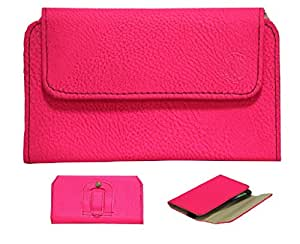 Jo Jo A4 G8 Belt Case Mobile Leather Carry Pouch Holder Cover Clip For Karbonn A9 Bright Pink