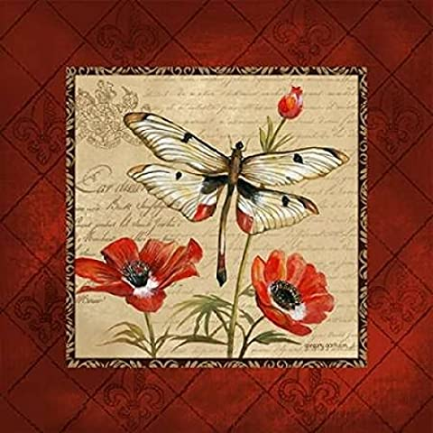 Gregory Gorham – Dragonfly and Poppies Kunstdruck (60,96 x 60,96 cm)