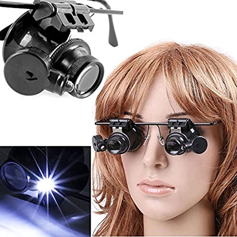 Bihood Double LED Lighted Spectacles Glasses Spectacle Glass magnifying Glasses with Light Clip on Eye Loupe Illuminated Head Magnifier 20X Glasses Black