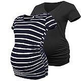 Joweechy Damen Umstands-T-Shirt, V-Ausschnitt, kurze Ärmel, Schwangerschafts-Tunika, Tops mit seitlichen Rüschen Gr. 34, Schwarz/Blau Weiß gestreift#shirt
