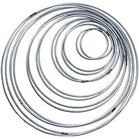 SERWOO 14 Piezas Anillos de Metal Artesanio Aros de Metal para Atrapasueños, 7 Tamaños (Plateado)