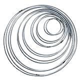 14 Stück 7 Größen Metallringe Drahtring Metall Ringe Hoops für Traumfänger 5/8/ 10/13/ 15/18/ 20cm Traumfänger Selber Basteln Bastelset Mobile Basteln Mobile Ring Silber