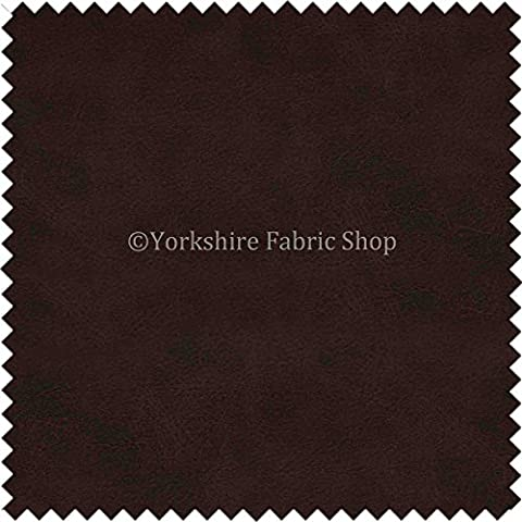 Aged Distressed Faux Nubuck Leather Fabric Soft Semi Sueded Suede In Dark Oak Brown Finish Use Cars Outdoor Chairs Furniture - Sold By The Meter by Yorkshire Fabric Shop