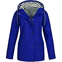 MERICAL Donna Solid Rain Jacket all'aperto più Impermeabile con Cappuccio Impermeabile Antivento