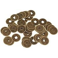 Sharplace Sistema de 50pcs 2.3 cm Monedas Afortunadas Chino de Feng Shui I Ching Antigua Fortuna Riqueza de Aleación