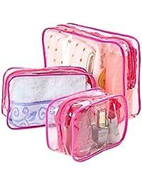 Lumanuby 3neceseres impermeables PVC transparentes bolsos de higiene monederos para viajes maquillaje bolso para mujeres y hombres Rosa