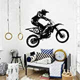 JIJI886 Motorrad Motocross Kunst Wandaufkleber Removable Aufkleber Wandtattoo Deko für Büro...