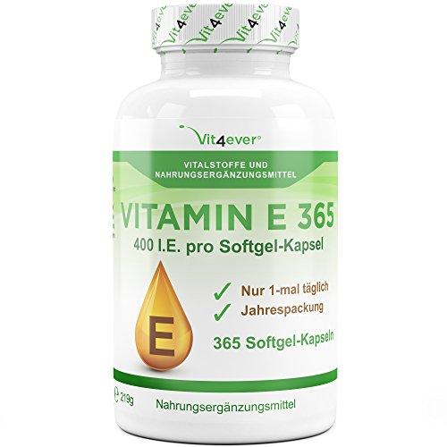 400 Ie Natürliches (Vitamin E 400 I.E. IU - 365 Softgel Kapseln - 1 Jahr Dauerversorgung - Natürlicher Antioxidant - Vit4ever)