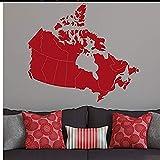 Canada Card 36W Wandaufkleber Patriotische Grafikkarte Canada Maple Leaf Vinyl Aufkleber Wasserdichte Wandaufkleber Haushaltsgegenstände 65X57cm