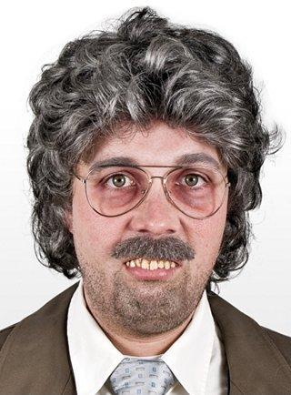 Halloween - Reporter Perücke (Alter Mann Perücken)