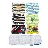 Hund Windeln, SET - 4St Lillypet GESTREIFTEN Hundewelpen Windel, MALE Junge, Bauchband, wiederverwendbar, waschbar, für KLEINE Hunderassen. zufällige Farben (S)