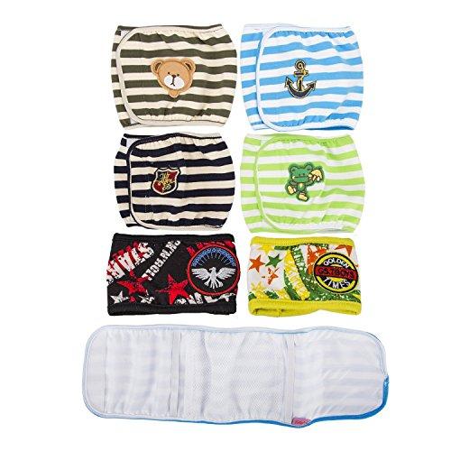 Hund Windeln, SET - 4St Lillypet GESTREIFTEN Hundewelpen Windel, MALE Junge, Bauchband, wiederverwendbar, waschbar, für KLEINE Hunderassen. zufällige Farben (M)