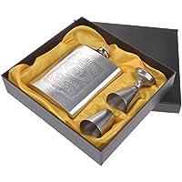 MMRM Conjunto de frasco de cadera portátil de acero inoxidable Flagon 7 oz . Petaca de
