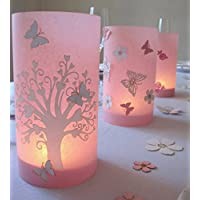 Hochzeit | Windlicht | Tischdeko| Herzbaum mit Schmetterling | 9 cm Durchmesser höhe 16cm rosa1stk