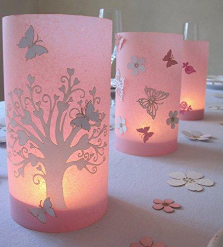 Kommunion   Windlicht   Tischdeko  Herzbaum mit Schmetterling   9 cm Durchmesser höhe 16cm rosa1stk