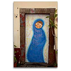 Calvendo Premium Textil-Leinwand 80 cm x 120 cm hoch, EIN Motiv aus dem Kalender Türen in Funchal | Wandbild, Bild auf Keilrahmen, Fertigbild auf echter Leinwand, Leinwanddruck Orte Orte