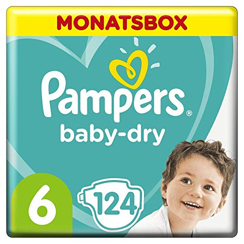 Pampers Baby-Dry Windeln, Gr. 6, 13kg-18kg, Monatsbox ( 1 x 124 Windeln)