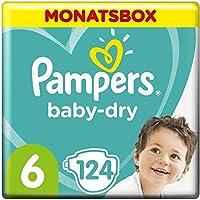 Pampers Baby-Dry Windeln, Gr. 6, 13-18kg, Monatsbox ( 1 x 124 Windeln), bis zu 12 Stunden Rundum-Auslaufschutz
