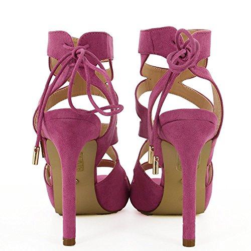 Ideal Shoes - Sandales à lacet effet daim avec devant croisé Violettine Violet