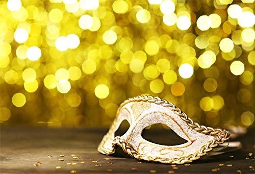 Requisiten Kostüm Benutzerdefinierte - BuEnn 5x3ft Maskerade Back Drop Mystic Karneval Maske Hintergrund für Fotografie Goldene Punkte Prom Halloween Party Kostüm Ball Foto Hintergrund Studio Requisiten