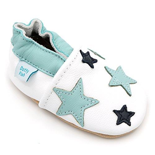 Dotty Fish Weiche Lederschuhe Für Babys und Kleinkinder von Rutschfeste Wildledersohle. Weiß mit Blauen Sternen. 0-6 Monate (EU18)