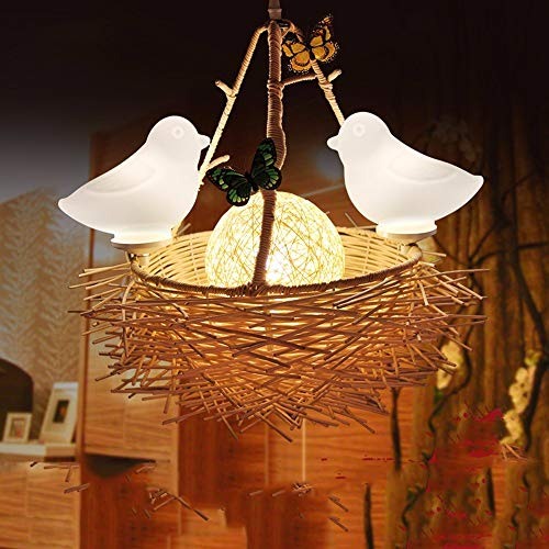 Hai Ying ♪ * Pendelleuchte Kronleuchter Vintage Shabby Green Reben, Vogelnest Restaurant Balkon Schlafzimmer Lampen Lampe Lichter, 40 * 50Cm ♪