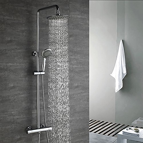 HOMELODY Chrom Duschsystem Thermostat Duschset Regendusche Duscharmatur Handbrause mit Drei-Strahlen Duschsäule inkl. Überkopfbrause Duschstange