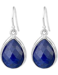 925 Sterling Silver Blue Sapphire Gemstone dangle Earrings Jewelry 8.80g cci fashion stylish & classy ring design for girls and women by CrystalCraftIndia