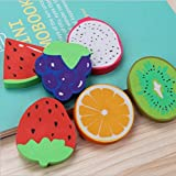 COI 3D ERASERS - Cute Fruit Set of Six Pencil ERASERS for Kids