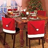 Beauty DIY Mart 4 Unidad Funda de Silla Tapa Cubierta de Silla con Forma de Sombrero Rojo Decoración de Navidad