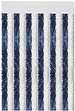 Flauschvorhang individuell kürzbar Auswahl: Unistreifen dunkelblau - weiß 90 x 200 cm